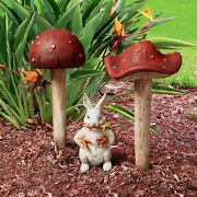 Set Of 2 37 And 25 Enchanted Gnome Fairy Forest Fungi Mushroom Garden Stakes