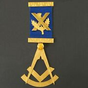 Solid 9k Gold And .91 Ct Citrine Masonic Medal, Free Mason Ribbon Pin, W/ Pouch
