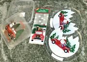 Red Truck Merry Christmas Party Cookie Trays Bowl With Lid And Loot Treat Bag Set