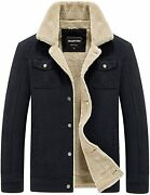 Howand039on Menand039s Cotton Warm Fur Collar Casual Button Military Cargo Jacket Outwear