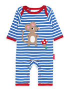 Toby Tiger Mouse Applique Sleepsuit Organic Cotton New With Tags - Ages 6-12m