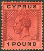 Cyprus-1923 Andpound1 Purple And Black/red. A Lightly Mounted Mint Example Sg 101