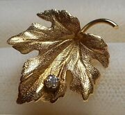 Tiny Vintage 14k Yellow Gold Maple Leaf Pin Brooch With 7 Point Diamond 1.8g