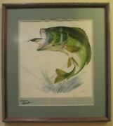 Creek Chub Leaping-bass-with-pikie-in-mouth Artist-signed-numbered Print