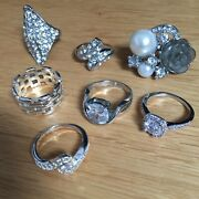 Rings Job Lot Costume Cocktail Jewellery Size M N O Paste Sparkle Christmas Gift