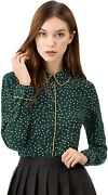 Allegra K Womenand039s Polka Dots Long Sleeve Piped Button Down Office Shirt