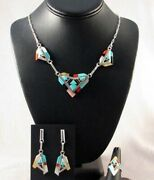 Vintage Zuni Turquoise Multi-gems Mosaic Hearts Necklace Earrings Ring Set, C80s