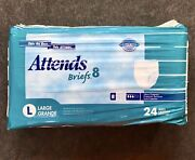 Vintage 24 Pack Attends Briefs 8 Plastic Backed Adult Diapers Pampers Large