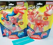 New Heroes Of Goo Jit Zu Marvel Ironman And Spiderman Set Of 2 - In Hand Ships Now