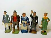 Britainand039s Lead Figure Lot W/ Moving Arms Preacher Amish Lady Gentleman Lady W/ C