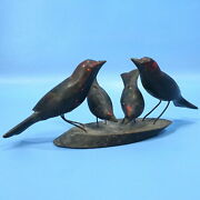 Antique Black Forest Wood Carved Bird Chick Swallow Wall Plaque Viechtau Austria