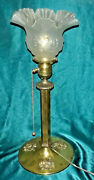 Gorgeous Victorian Antique Brass And Iron Converted Gas Lamp Brass Levolier Socket