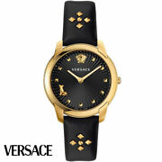 Versace Velr00319 Audrey Gold Black Leather Womenand039s Watch New