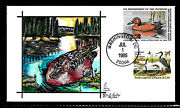 Rw52 7.50 Stamp 1985 Cinnamon Teal Duck Fdc Hand Painted By Fran B. Paslay