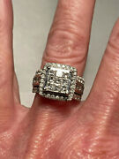Modern 2.5 Carat Invisible Set Diamond 10k White Gold Halo Ring Signed Zei