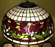 Reproduction Lamp Shade 16 Red Poinsettia Stained Glass + Wheel And Cap