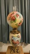 Antique Fostoria Gwtw Kerosene Lamp With Roses And Angels 29h Parlor Banquet