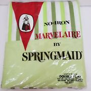 Springmaid Marvelaire Green Striped Vintage Sheet Double/full Flat Sheet New