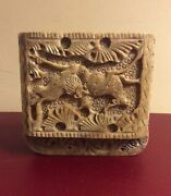 Vtg Hand Carved Ornate Soap Stone Lidded Jewerly Trinket Box Animal Carvings 4andrdquo