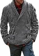 Karlywindow Mens Thick Shawl Collar Double Breasted Cable Knitted Cardigan Sweat