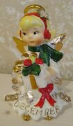 Lefton Christmas Angel With Halo December 1987j Vintage Japan Wing Repaired