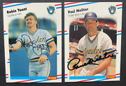 1988 Fleer Robin Yount And Paul Molitor Hof Milwaukee Brewers Signed Cards Lot 2