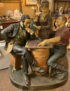 Antique 1875 Painted John Rogers Sculpture Checkers At The Farm