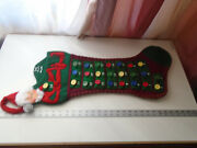 Vintage 28 Annalee Christmas Stocking Large Red Green Elff Calender Rare