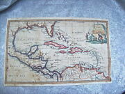 Antique Circa 1750and039s Orig. West Indies Map With Florida - Thomas Jefferys