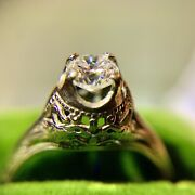 Antique Approximately .65 Carat Diamond And White Gold Lovebirds Filigree Ring