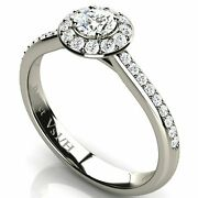 Halo Diamond White Solid 18k Gold Engagement Wedding Ring With Side Diamonds