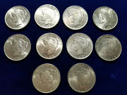 🌟half Roll Of 10 Au 1922-1924 P Mint Peace Silver Dollar Us Coins