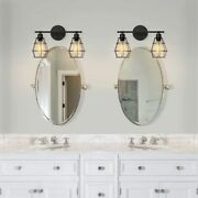 2-light Vanity Light Fixture Industrial Black Metal Cage Farmhouse Wall Sconce
