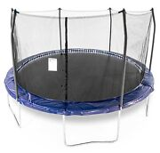 15and039 Skywalker Trampoline Led Lighted Pad Round 96 Springs With Safety Enclosure