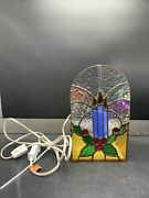 Vintage Christmas Candles Stained Glass Candle Table Lamp Christmas Decorations