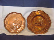 Arts And Crafts Ye Boars Head + Shepherdess Boat 2 Vintage Copper Plates Antique