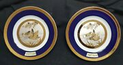 Vintage Pair Of Chokin 24k Gold And Silver 6 1/4 Duck Plates