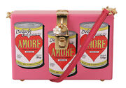 Dolce And Gabbana Bag Purse Wooden Amore Pink Clutch Box Shoulder Hand Rrp 2600