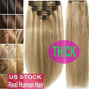 330g 12pcs Virgin Slon Thick Clip In Double Weft Real Human Hair Extensions Usps