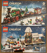 Lego Winter Village Station And Winter Holiday Train Sets 10254 And 10259 New Sealed