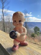 Vintage Trc X8 - Squeak Toy Rubber Bowling Ball Chubby Boy - Old, Very Loved Bin