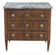 Louis Xvi Style Petite Marble Top Walnut Commode - 19th C