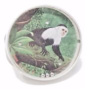 Vintage German Tin Bb Puzzle Hand Held Game Capuchin Monkey Epeso Safety Mirror