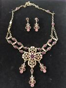Suzanne Somers Pink/purple Necklace And Earrings