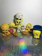 Vintage 90's Lot Tweety Bird Plush Squeak Toy Pin Can Cozy Painters Overalls