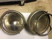 Vintage Car 10-1/2 In. Headlight Reflectors + 9-1/2 Guide-ray And Monogram Lenses