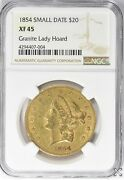 1854 20 Gold Liberty Head Small Date Double Eagle Ngc Xf 45