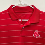 Boston Red Sox Mens Striped Golf Polo Red Large