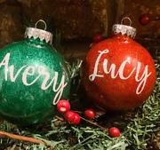 Personalized Christmas Ornaments- Name Ornaments- Christmas Gifts- Glitter Ornam