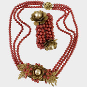 Early Haskell Frank Hess Red Glass And Gilt Leaves Necklace And Coil Bracelet Set